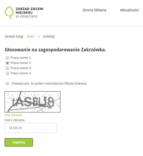 Formularz głosowania na projekt Zakrzówka