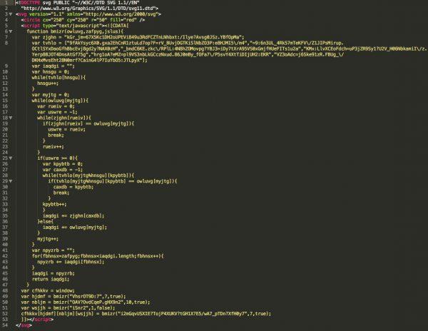 Kod złośliwego pliku SVG rozsyłanego przez czat na Facebooku