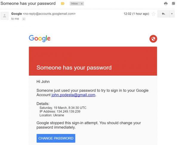 Fałszywy e-mail, jaki otrzymał John Podesta