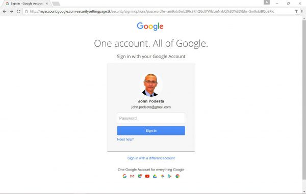 Wygląd fałszywej strony wyłudzającej hasła do kont Google