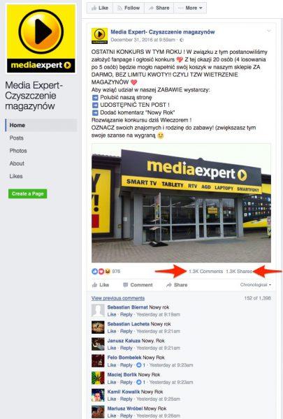 Scamerski profil Media Expert na Facebooku