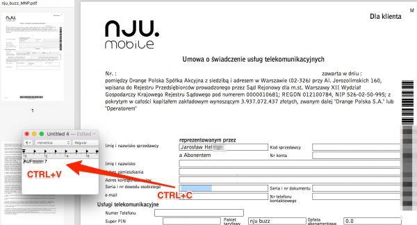 Umowa nju mobile, jaką podesłano naszemu czytelnikowi. Dane innego klienta są białym fontem