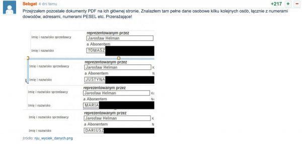 Zestawienie danych osobowych klientów nju, które zostały upublicznione na stronie głównej operatora