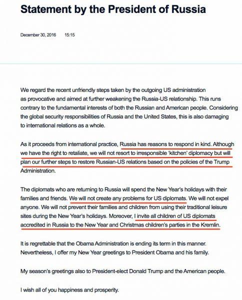 Oświadczenie Putina w sprawie sankcji USA