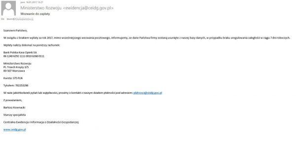 Fałszywe wezwanie do zapłaty z CEIDG