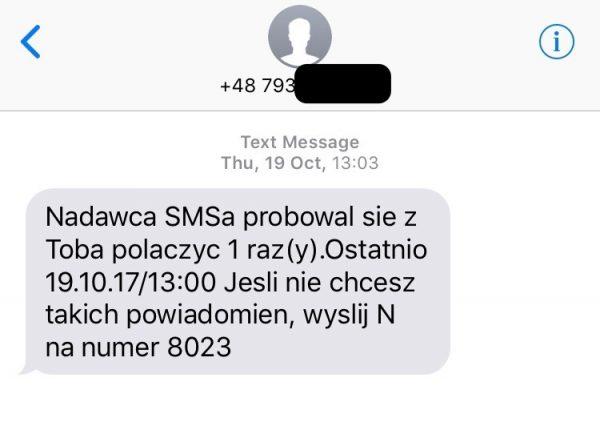 Prawdziwa wiadomość o nieodebranym połączeniu wysyłana przez jednego z polskich operatorów