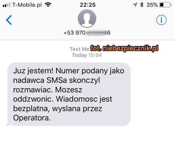 fałszywy SMS skłaniający do oddzwonienia na zagraniczny numer