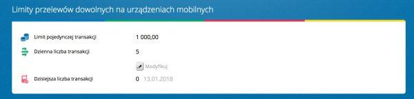 Domyślne limity dla aplikacji mBanku