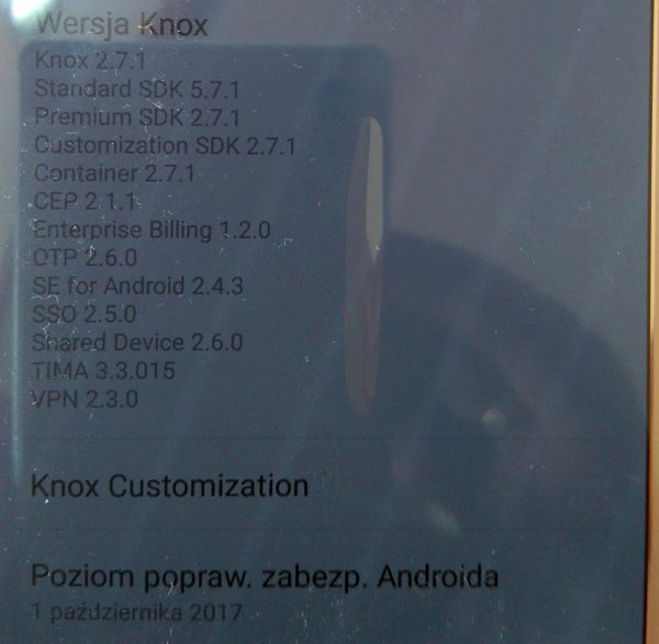 fot. czytelnika ukazująca wersje KNOX na jego telefonie