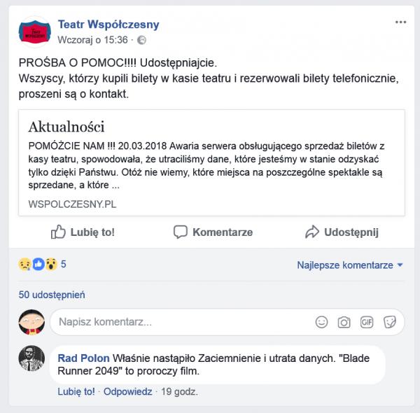 Komunikat o ataku - facebook