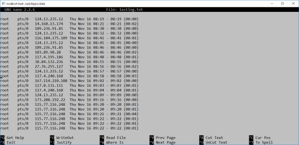 Adresy IP, z których próbowano nawiązać połączenie.