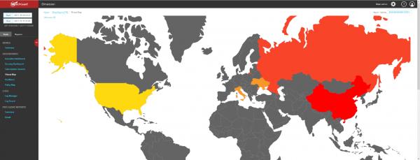 Wizualizacja źródeł ataku na sieć firmową - mapka