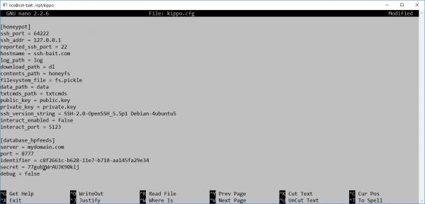 Plik konfiguracyjny Kippo SSH.