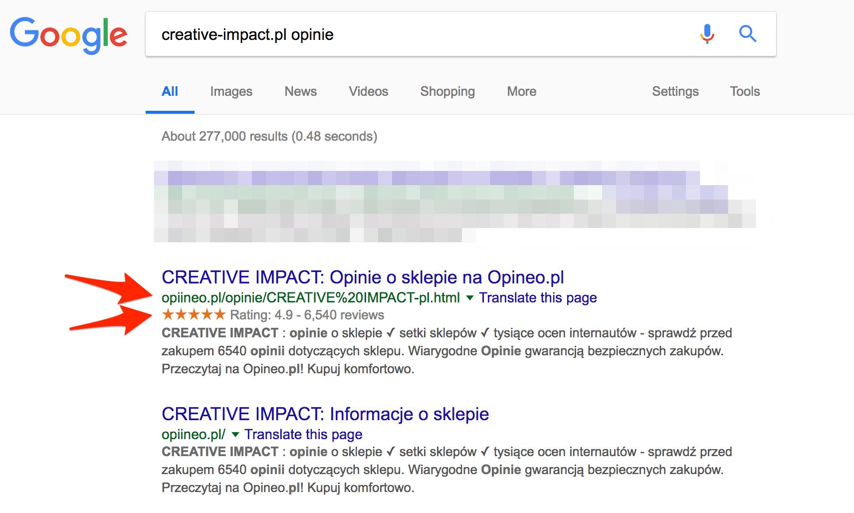 7ade5174dd049e Oto przykład jednego z fałszywych serwisów z opiniami, udającego Opineo i  przekazujacego fałszywe opinie na temat sklepu creative-impact.pl, ...