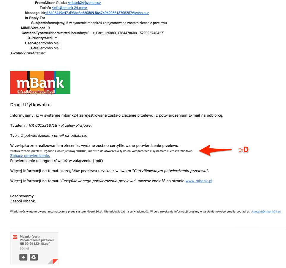 Ciekawy Atak Na Potwierdzenie Przelewu Z Mbanku I Odwolanie Do Rodo