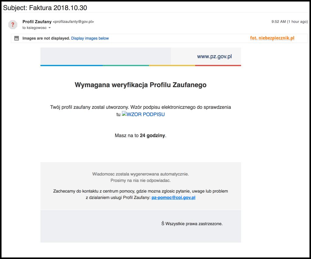 """a26744808c71e8 AKTUALIZACJA] Polacy otrzymali złośliwe e-maile od """"Profil Zaufany ..."""