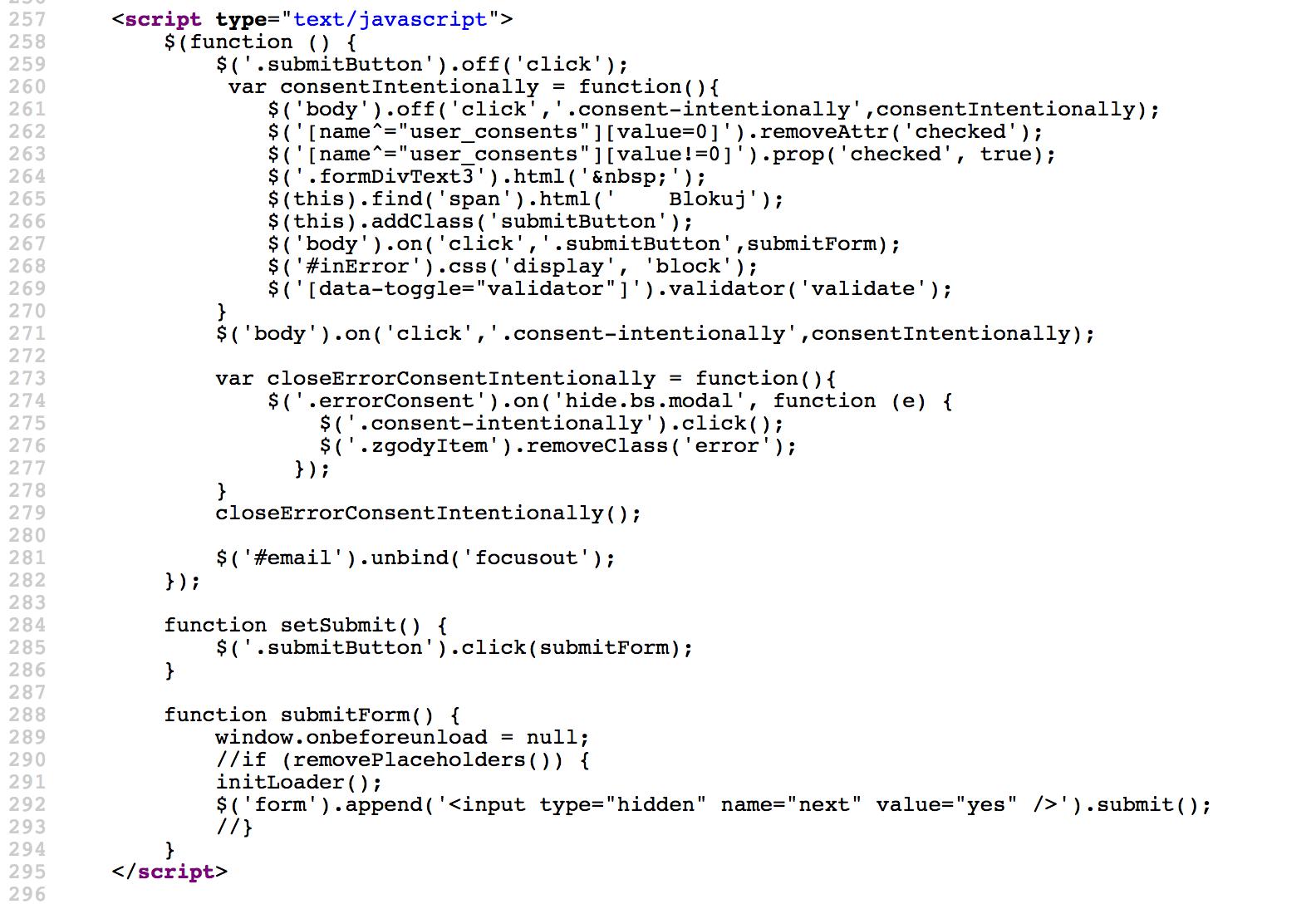"""a58def610472b0 Innymi słowy — przy włączonym JavaScript, pierwsze kliknięcie w przycisk  """"blokuj"""" wysyłający formularz powoduje przełączenie wszystkich zgód  marketingowych ..."""