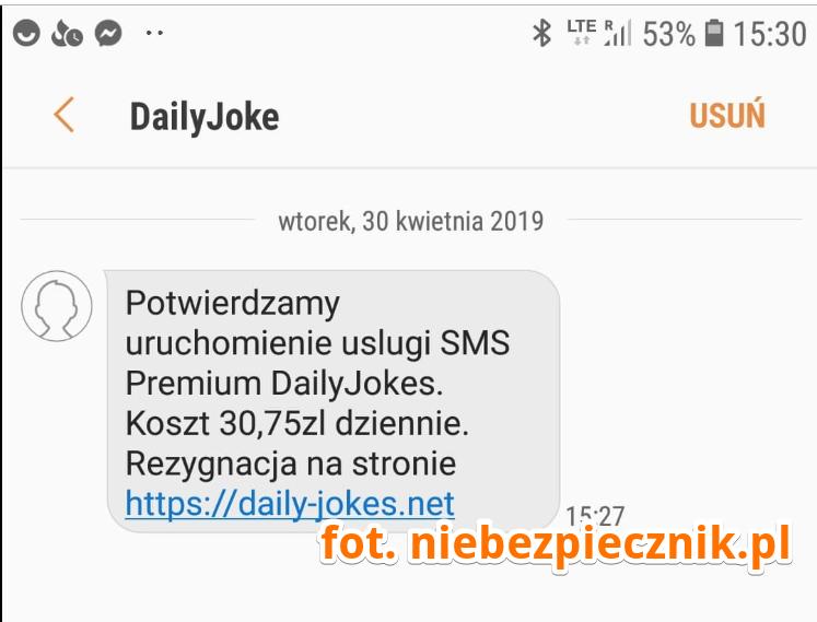 41ec3ebbb978fe Potwierdzamy uruchomienie uslugi SMS Premium DailyJokes. Koszt 30,75PLN  dziennie. Rezygnacja na stronie https://daily-jokes[.]net